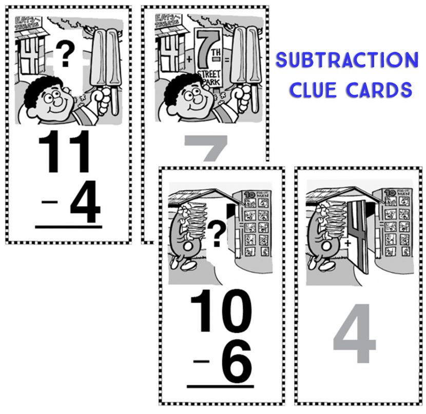 Subtraction Clue Cards